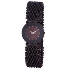 Jowissa Women's J5.191.M Facet Maroon Dial Crystals Black PVD Steel Wristwatch