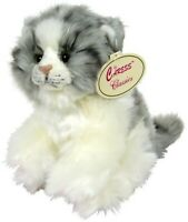 Official Russ Plush Cat Gray & White Soft Toy Plush Touch Toy 18cm