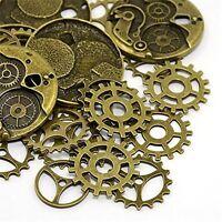 25 pcs Pack Mix Lots Vintage Bronze Metal Steampunk Gears Pendants Charms DIY