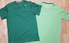 Lot Of 2 ~ Men's M/L NIKE Dark Green Dri-Fit & Light Green Aeroreact Shirts EUC