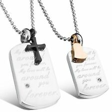 MENDINO His & Hers Stainless Steel Pendant Necklace Heart Cross Dog Tag Couples