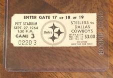 1964 Pittsburgh Steelers Dallas Cowboys NFL Football ticket stub Landry Renfro