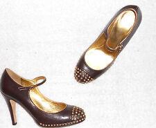 DKNY escarpins cloutés (doré) cuir brun foncé  P 36 ½ (6 ½) TBE