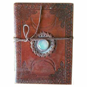 """NEW Triple Moon Leather Journal 5x7"""" Handmade Moonstone Wicca Book of Shadows"""