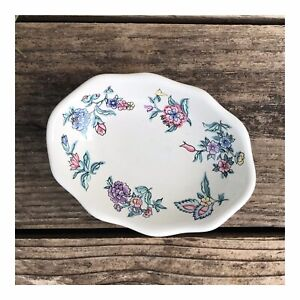 Vintage Laura Ashley Porcelain Floral Soap Dish Chinese Silk ~