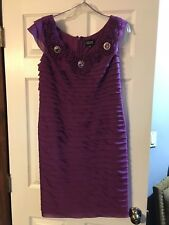 ADRIANNA PAPELL PURPLE LAYERED FORMAL DRESS CAP SLEEVES JEWELS SIZE 10 NWOT