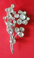 Vintage Gorgeous Clear Crystal Floral BROOCH + NECKLACE UK seller  FREE P&P