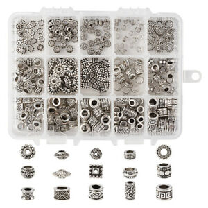 300pcs Mixed Tibetan Silver Alloy Large Hole Beads Metal Spacer Crafting 5~12mm