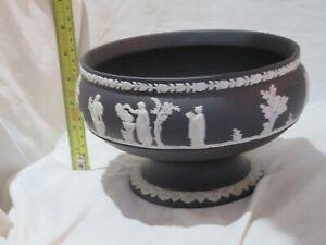 Wedgwood Jasperware Black Basalt footed fruit bowl stamped 68