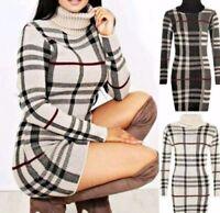New Ladies Polo Neck Tartan Knitted Midi Women Long Sleeve Bodycon Dress (08-22)