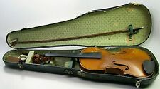 ANTIQUE 4/4 FULL SIZE JOHN JUZEK CZECHOSLOVAKIA VIOLIN & CASE PARTS REPAIR