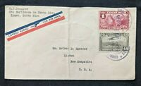 1935 Limon Costa Rica Airmail Cover to New Hampshire USA