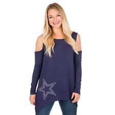 NFL Dallas Cowboys Women's Navy Ellis Long Sleeve T-Shirt, Large