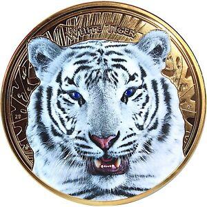 10 Cedis Ghana 2021 - 1 Kilo White Tiger 2021 vergoldet mit 2 Tansaniten