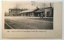 1906 NY Postcard Fonda New York Railroad RR Train Station Depot Hotel Roy tracks