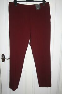 NwT - Marks and Spencer - Deep Red, Slim Leg, Mid Rise Trousers Size 16