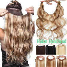 BODY WAVE Invisible Wire Band Remy Human Hair Extensions 3/4 Full Head NO CLIPS