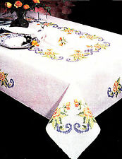 """Stamped Embroidery - Tobin Yellow Rose 58"""" x 90"""" Tablecloth #T202753-90 SALE!"""