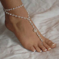 Foot Jewelry Pearl Anklet Chain Barefoot Sandal Bridal Beach Ankle Bracelet UK
