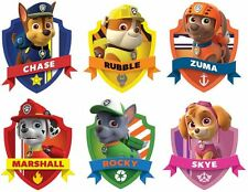 "PAW PATROL SHIELD 3D WALL STICKER SET ART KIDS DECAL Stickers 4"" EACH sticker"
