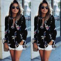 femmes manches longues chemisier col V mousseline de soie Floral T-shirt haut