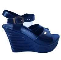 New Nature Breeze Blue Wedge  Platform Sandals, Sz 6.5