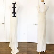 Valentino NWT Cream Black Ribbon Bow Back Gown Size XS