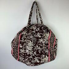 Vera Bradley Womens Large Brown White Pink Cotton Zip Top Tote Duffel Bag
