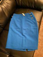 The Limited Womens Pencil Skirt Size 4 Aqua Blue Below Knee Sailor Buttons