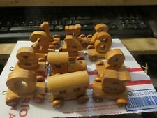 vintage wooden number Train set numbers 1 through 9 with engine caboose