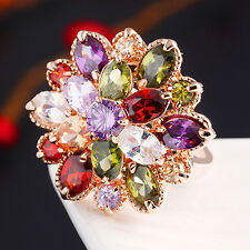 EG_ Lady's 18K Gold Plated Alloy Ring Cubic Zirconia Colorful Crystal Flower Fas