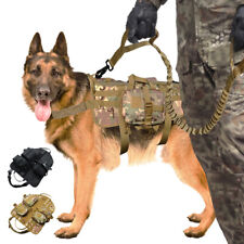 No Pull Nylon Tactical Military Dog Vest and Leash Molle Canine Harness Training
