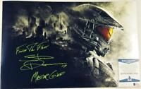 STEVE DOWNES MASTER CHIEF SIGNED HALO 11x17 METALLIC PHOTO BAS COA 035