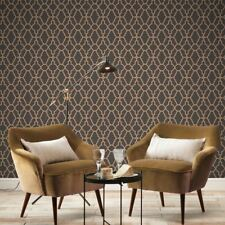 BLACK / COPPER CASABLANCA TRELLIS FRETWORK WALLPAPER - RASCH 309331 NEW