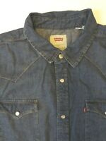 LEVI'S DENIM SHIRT MEN'S REGULAR FIT POPPERS LARGE MID BLUE LSHT690