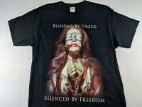 NEW Blinded By Greed Silenced By Freedom Black T Shirt Protect Revolution Casual