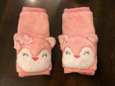 Carters Plush Pink Fox Carseat Strap Covers Shoulder Pads