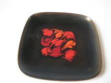 vtg Mid Century Leon Statham ENAMEL DISH plate bowl modern red black brown retro