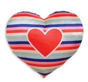 Manhattan Toy Company Throw Pillow Rainbow Stripe Heart Shape Valentines Day New