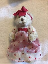 """Russ Berrie Plush Stuffed Bear """"Claudette"""" [9.5 Inches standing] Valentines Day"""