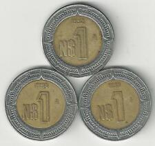 3 DIFFERENT BI-METAL 1 PESO COINS from MEXICO (1992, 1993 & 1994)