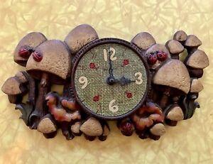 Vintage 1970s Mushroom & Ladybug Clock Burwood Germany Chalkware As-Is Untested