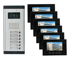 "7"" LCD 6 Apartments Flats Touch Screen Video Door phone Night Vision Intercom"