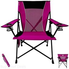 Camping Folding Chair Portable Outdoor Camp Comfortable Seat Dual Lock Pink