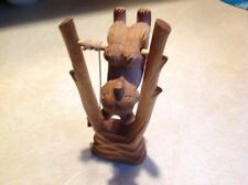 """Hand Carved Wooden Russian Swinging Bear Toy~8"""" Tall~Holiday Gift~Marked Ussr~Ex"""
