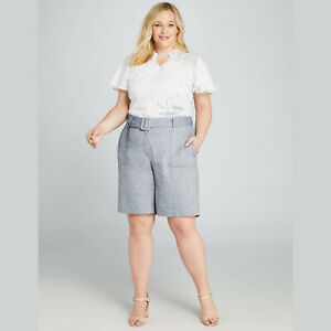 Lane Bryant Women's Plus 22 Blue High-Rise Bermuda Short Belted Denim Linen