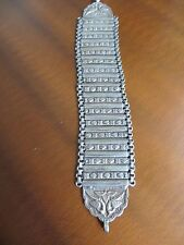 Antique Ethnic Tribal old 925 silver handmade Panel Bird's Repousse bracelet 8""