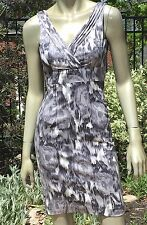 H&M GRAY ABSTRACT PRINT bodycon wiggle pencil office DRESS  sz 2