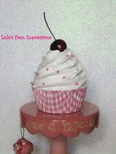 Faux Cupcakes Fake Food White in Pink Plaid w/ sprinkles