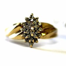 10k yellow gold .25cttw SI2 I diamond cluster ring 3g vintage estate antique
